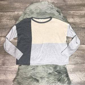 Eileen Fisher Colorblock Long Sleeve Sweater Boxy